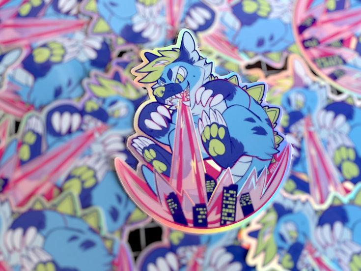 KAIJU DOG!  Holographic vinyl sticker