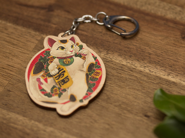 LUCKY!! CAT - Wooden Charm