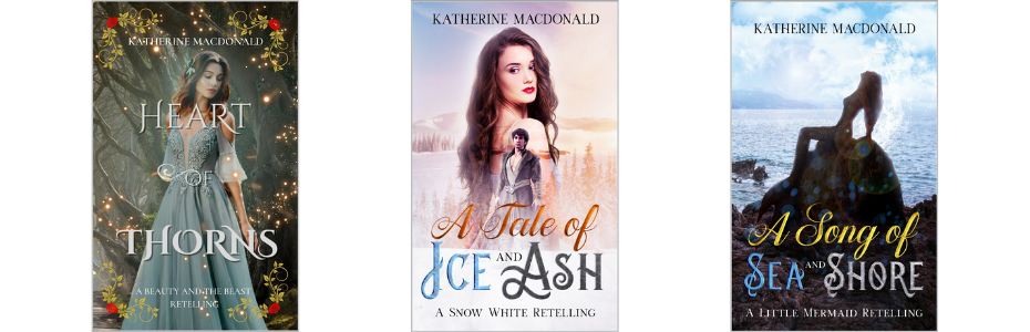 Cover photos for Heart of Thorns, A Tale of Ice and Ash, and A Song of Sea and Shore
