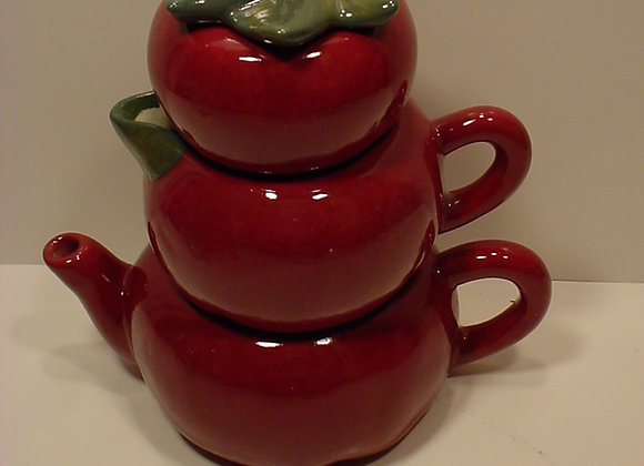 Apple Teapot, Sugar and Creamer Stack