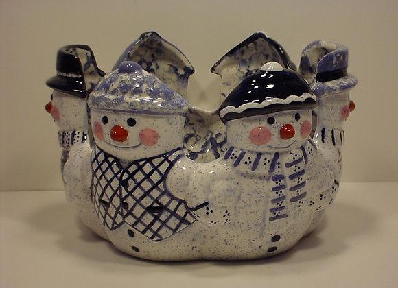 Large Snowman Candle Holder or Basket
