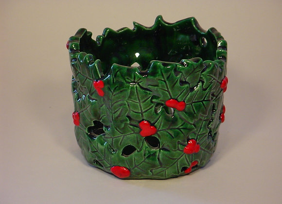Holly Candle Jar Pot