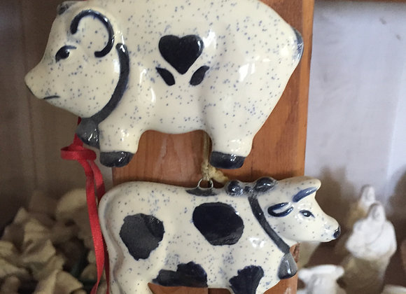 Pig and Cow Ornaments
