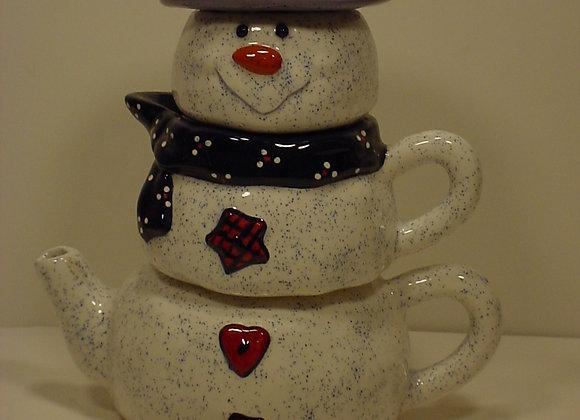 Snowman Teapot, Sugar & Creamer Set