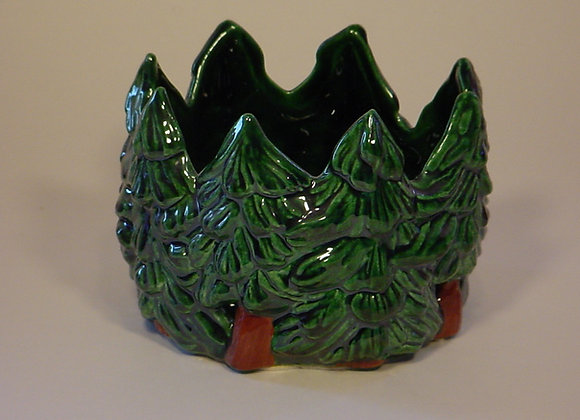 Pine Trees Candle Pot
