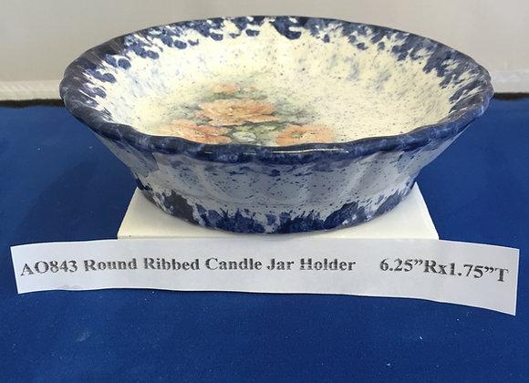 Round Ribbed Candle Jar Holder