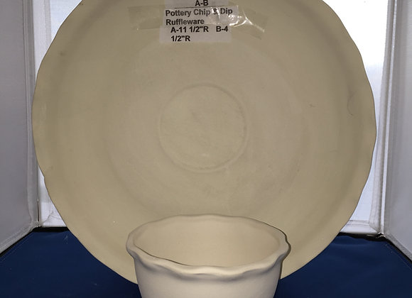 Ruffleware™ Pottery Chip and Dip Bowl