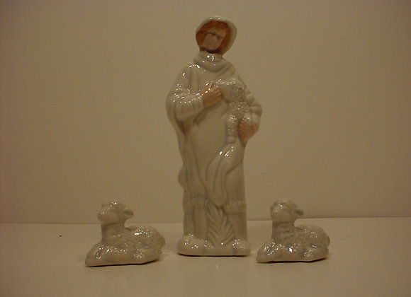 Nativity One Shepherd and Two Sheep