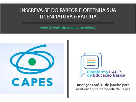 Curso de Geografia está pronto pra receber inscrições de demanda do PARFOR até 07/02/2020.