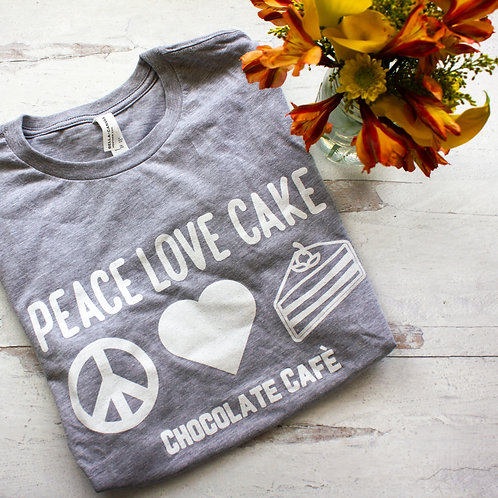 Peace, Love & Cake | Chocolate Cafe Shirts