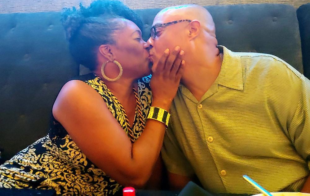 public kissing in a restaurant