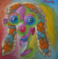 Woman's head on a multicolored background