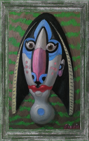 Woman head with red lips