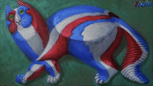 Blue white red cat