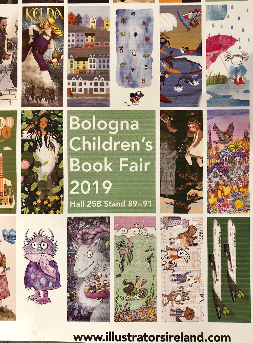 A selection of Illustrations on a poster for Illustrators of Ireland at the Bologna Book Fair
