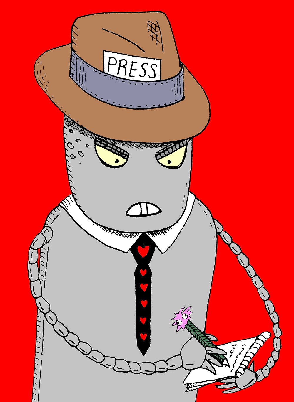 Sergeant Megatron 5000 dressed as a reporter with a hat and notepad