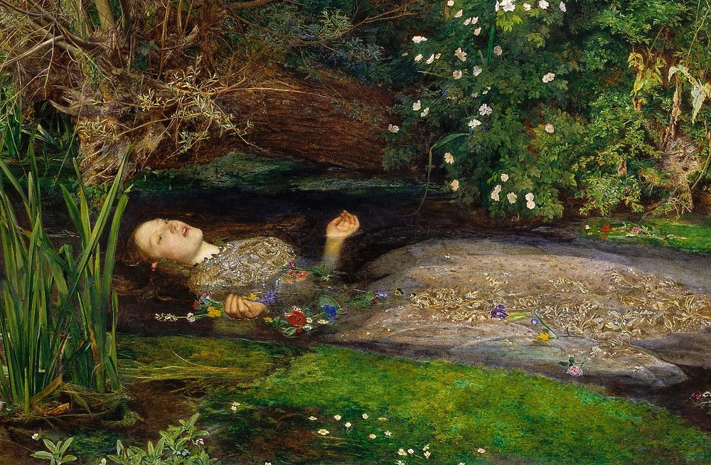 Ophelia by Sir John Everett Millais (a woman in a dress floats in a river)