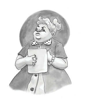 A woman teacher looks disapprovingly ahead whie holding paper and pencil