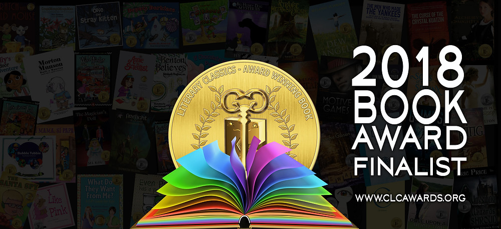 2018 Book Award Finalist seal with an open book with rainbow pages over a background of book covers