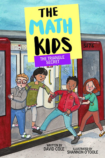 Cover of Math Kids: The Triangle Secret showing four kids rushing to get on a train