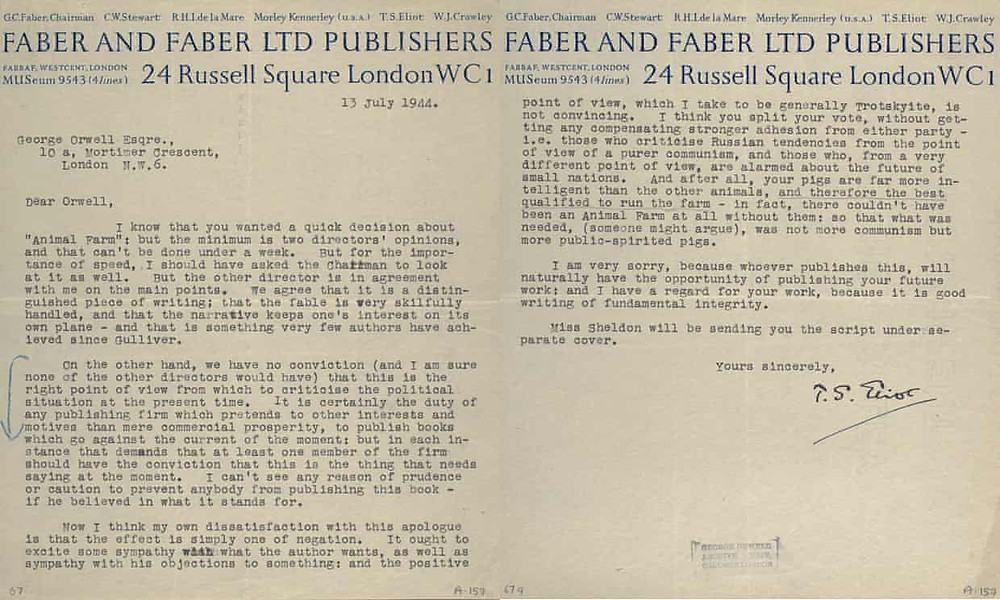 Orwell Rejection Letter. TS Eliot and reprinted by permission of Faber & Faber.