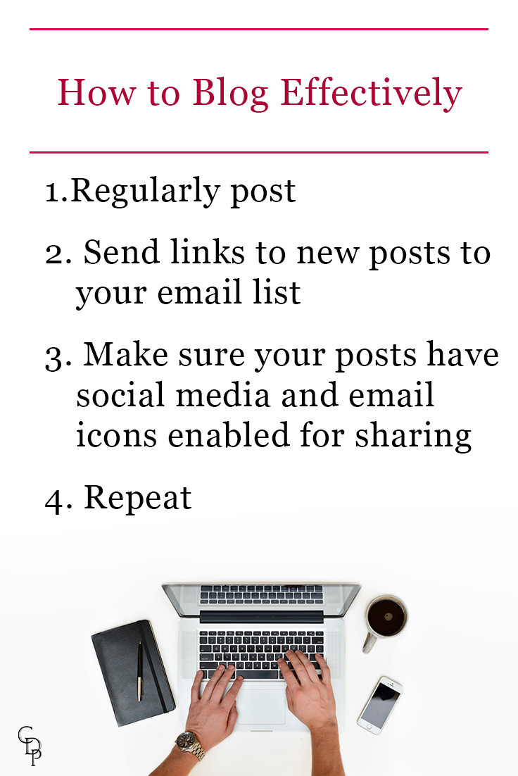 How to blog effectively: 1. Regularly post 2. Send links to new posts to your email list 3. Make sure your posts have social and email icons for sharing 4. Repeat