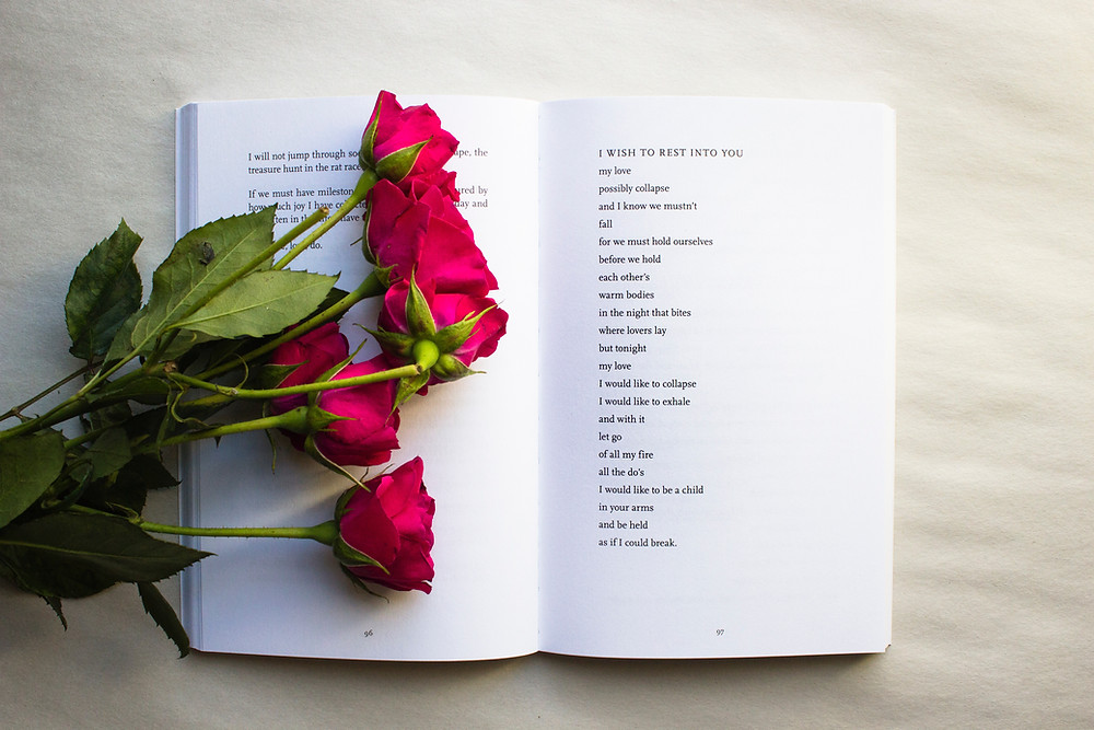 An open poetry book with red roses sitting on top