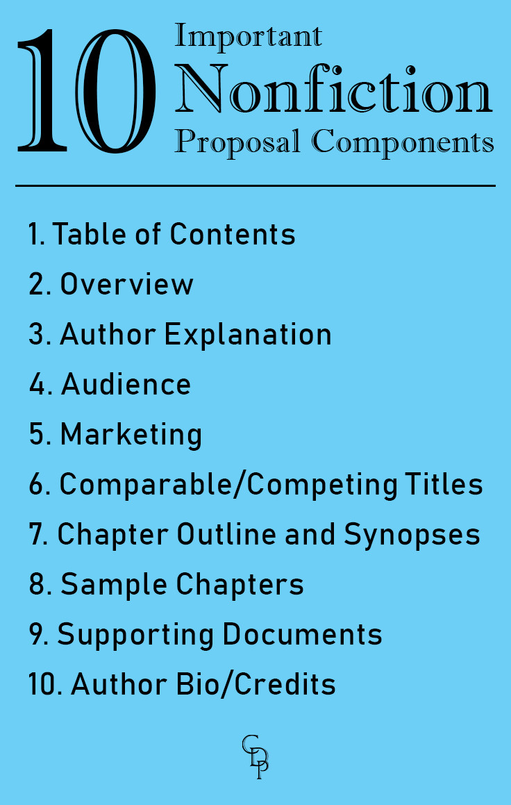 10 Important Nonfiction Proposal Components: 1. Table of Contents 2. Overview 3. Author Explanation 4. Audience 5. Marketing 6. Comparable/Competing Titles 7. Chapter Outline and Synopses 8. Sample Chapters 9. Supporting Documents 10. Author Bio/Credits