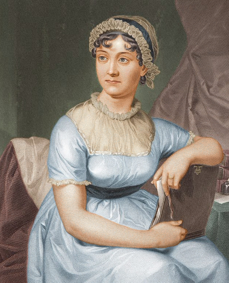 Colourized engraving of Jane Austen wearing a blue dress and holding a book while looking off to the left