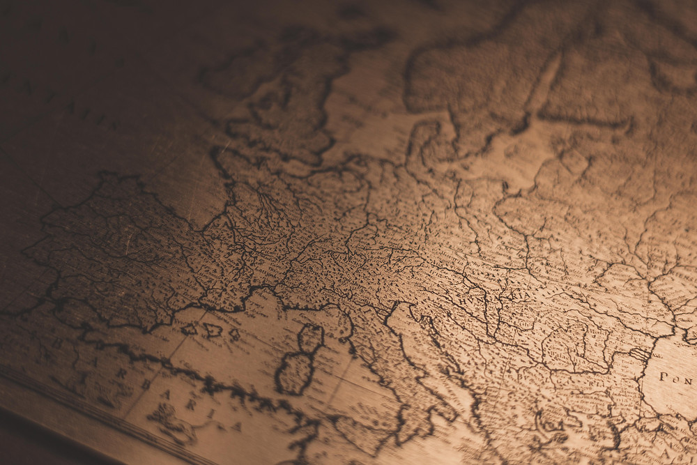A sepia toned map of Europe