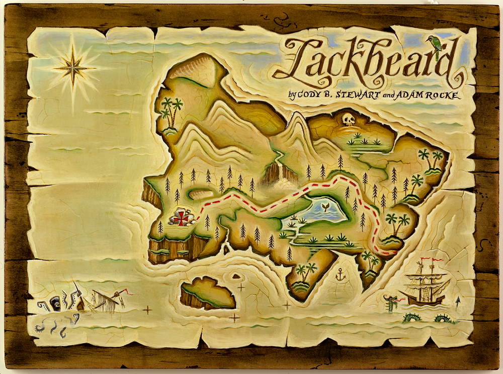 A painted pirate map of an island with a red dotted line leading to an X