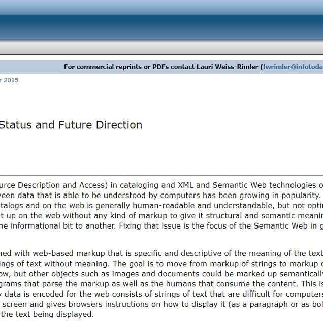 Linked Data in libraries: status and future direction