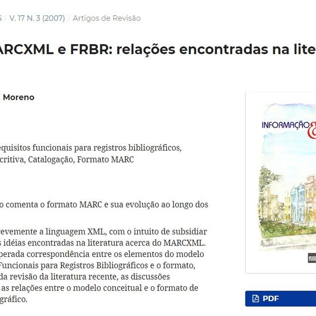 MARC, MARCXML e FRBR: relações encontradas na literatura