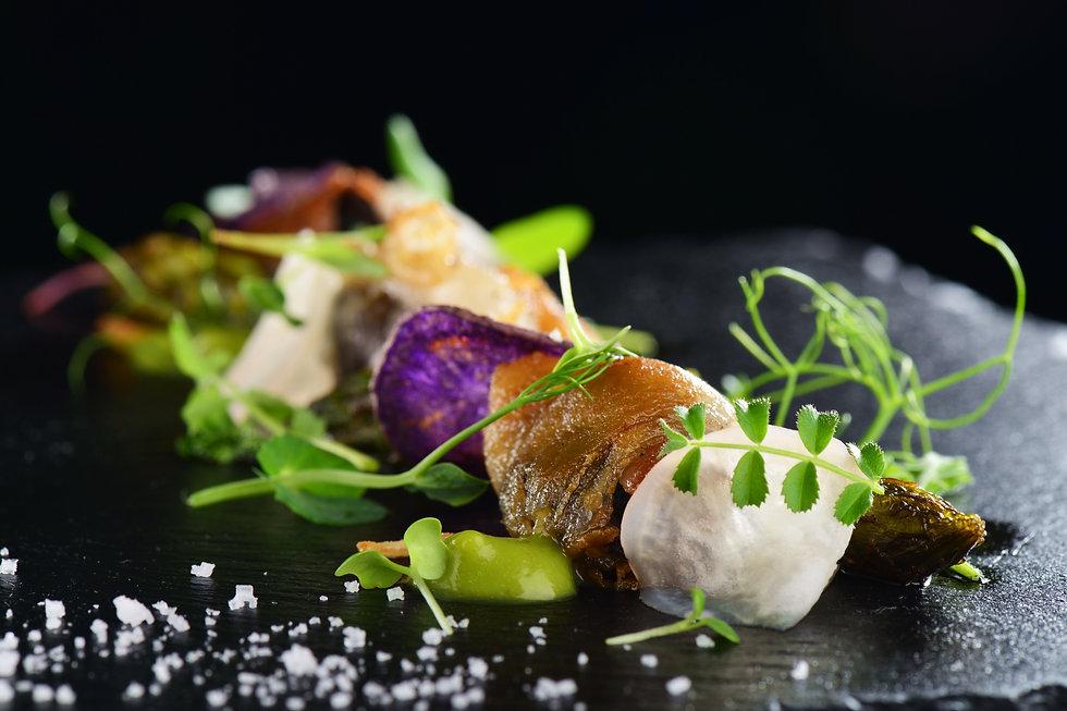 Haute cuisine, Gourmet food scallops wit
