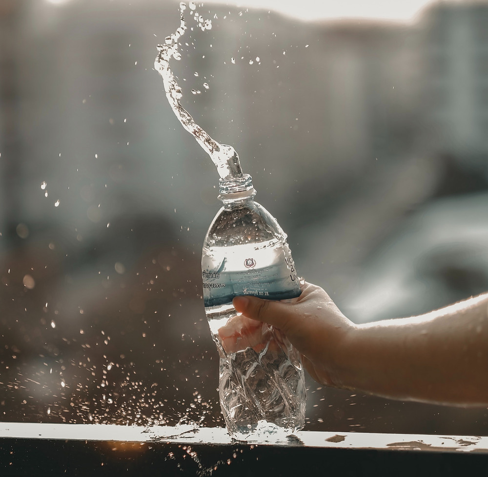 A bottle of water to stay hydrated during exercise.