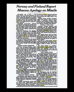 Article de presse décrivant les tensions soulevées par la présence de lanceurs de missiles près de la frontière 50 x 62,5 cm, 2019 ©David Munoz, Adagp Paris.
