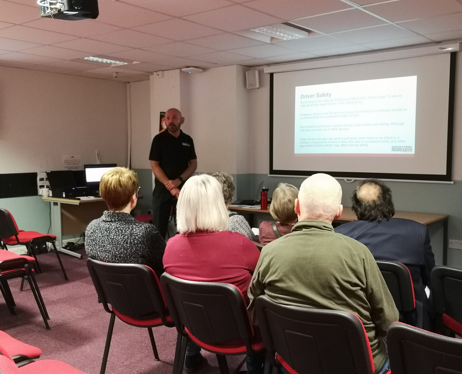 Community engagement Officer Martin Lunn giving a presentation on Road Safety