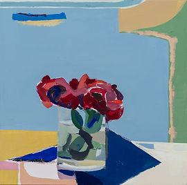 Red Flower, Blue Napkin and Container Sh