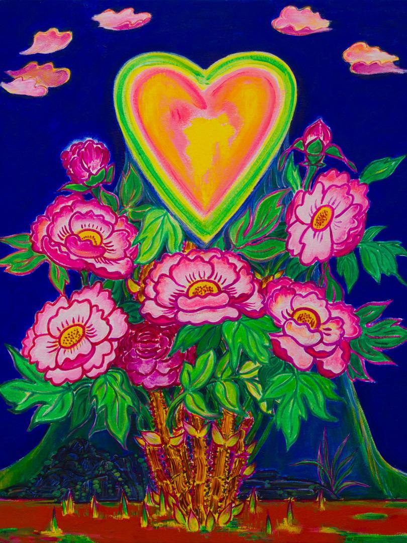 모란에 핀 하트_Acrylic on Canvas, 72.7 x 60.6c