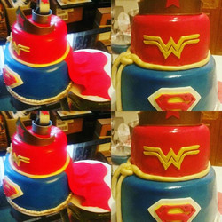 Im still new to this cake thing !!Wonder woman & superman cake