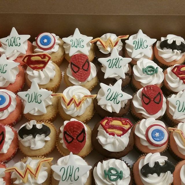 Superhero luncheon cupcakes for united h