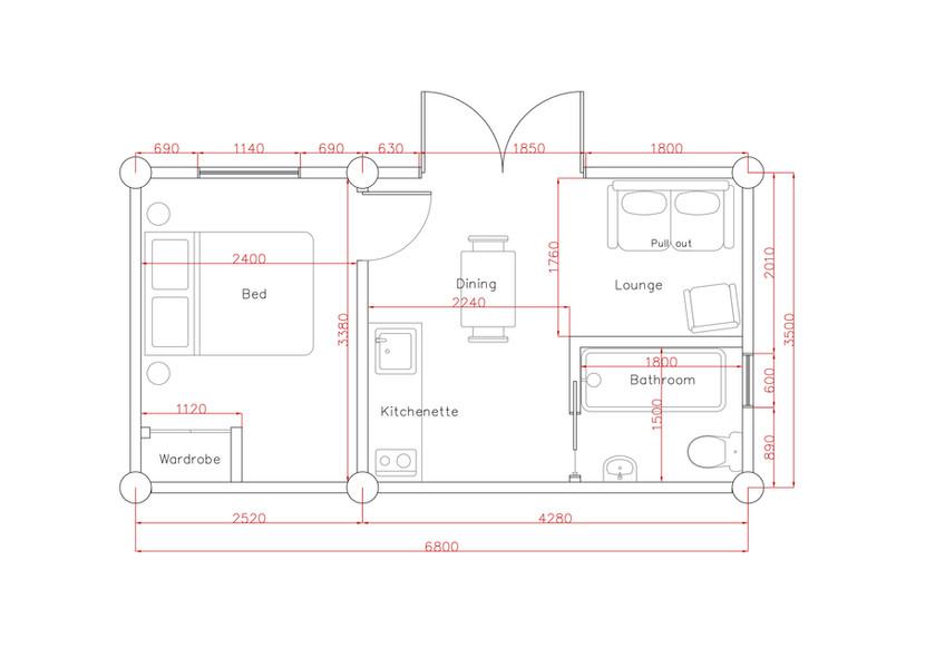 Monopod-C (6.8 x 3.5) Garden Cabin Plan