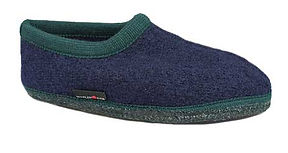 HAFLINGER BOLERO SLIPPERS IN NAVY & GREEN