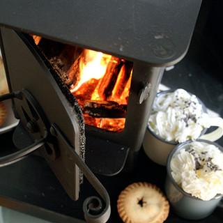 Log burning stove and hot chocolate