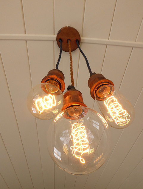 Industrial tarnished copper light fitting