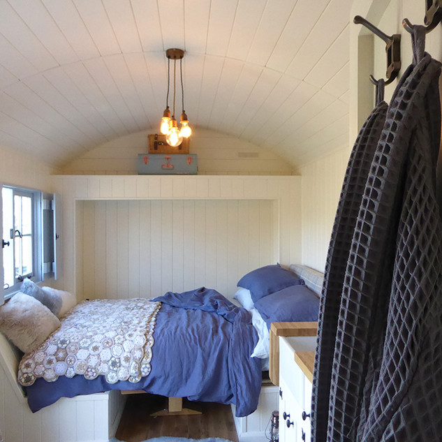 Pull down double bed in shepherds hut