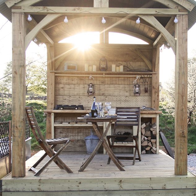 handmade outdoor kitchen on glamping site