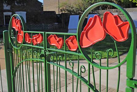 Faversham memorial garden poppy gates Joel Tarr artist blacksmith