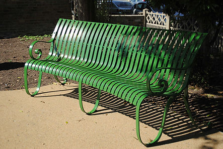 Curved benches by Joel Tarr artist blacksmith