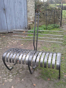 Monty Don bench by Joe Tarr artist blacksmith